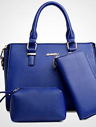 Mulher Conjuntos de saco Couro Ecológico Todas as Estações Baguete zíper Azul Preto Cinzento Fúcsia