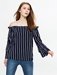Femme fines rayures Tee-shirt,Rayé Décontracté/Quotidien simple Automne/Hiver Manches Longues Bateau Bleu Coton Moyen