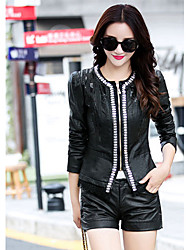 Women's Going out Holiday Sexy Fall Winter Leather Jacket,Solid Shirt Collar Long Sleeve Regular PU