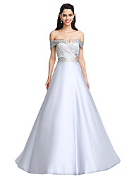 A-Line Off-the-shoulder Floor Length Satin Prom Formal Evening Dress with Beading Crystal Detailing Sash / Ribbon by TS Couture®