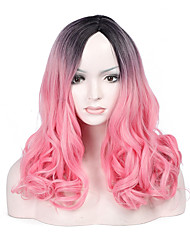 Fashion Black To Pink Color Short Wave Woman's Synthetic Hair Wigs for Party and Daily Life