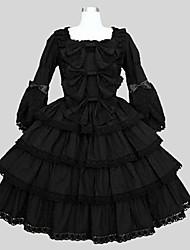 Uma-Peça/Vestidos Lolita Clássica e Tradicional Rococo Cosplay Vestidos Lolita Verde Cor Única Manga 3/4 Longuete Vestido Anágua Para