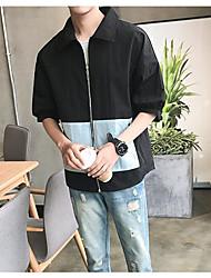 Men's Daily Modern/Comtemporary Spring Summer Jacket,Solid Shirt Collar 1/2 Length Sleeve Regular Polyester