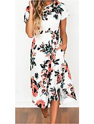 Для женщин Простое Оболочка Платье Цветочный принт,Круглый вырез Макси Средней длины С короткими рукавами Шифоновый атлас Шифон ЛетоСо