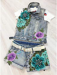 Women's Daily Jackets Other Summer Tank Top Pant Suits,Embellished&Embroidered Punk Shirt Collar Short Pant Inelastic