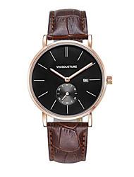 Homens Relógio de Moda Quartzo Calendário Impermeável Couro Banda Marrom