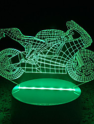 3D Acrylic Motorcycle LED Lamp Discoloration Night Lights for Kids Room Decorative Lamps Remote Control USB Lights Funny Vehicle Lamps for Family