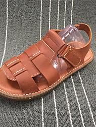 Herren Sandalen Komfort Leuchtende Sohlen Leder Sommer Normal Komfort Leuchtende Sohlen Schwarz Braun Flach