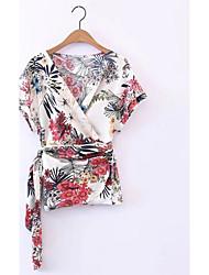 Damen Druck Chinoiserie Normal T-shirt,V-Ausschnitt Kurzarm Polyester