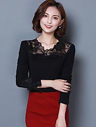 Damen Solide Einfach Party T-shirt,Rundhalsausschnitt Kurzarm Seide