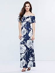 Women's Off The Shoulder|Ruffle|Boho Casual Party Vintage / Street chic Layered Backless Sheath Dress Floral Boat Neck Maxi Short Sleeve