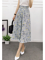 Feminino Simples Cintura Média Inelástico Perna larga Calças,Perna larga Floral