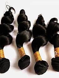 Tissages de cheveux humains Cheveux Péruviens Ondulation Lâche 18 Mois 4 Pièces tissages de cheveux
