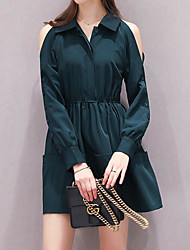 Women's Casual/Daily Simple Loose Dress,Solid Shirt Collar Above Knee Long Sleeve Polyester Summer High Rise Inelastic Thin