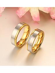 Casal Anéis de Casal Anéis Grossos Anel Zircônia cúbica Moda Estilo simples Elegant Zircônia Cubica Forma Redonda Jóias ParaCasamento