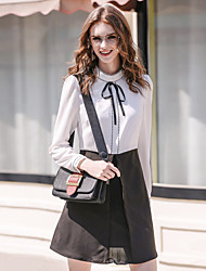 Women's Work A Line Dress,Solid Shirt Collar Above Knee Long Sleeve Cotton Polyester Spring Mid Rise Micro-elastic Medium
