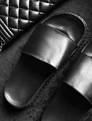 Women's Slippers & Flip-Flops Comfort PU Spring Casual Black Flat