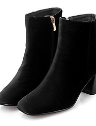 Women's Boots Comfort Suede Spring Casual Red Black Flat