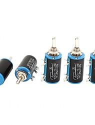 Wxd3-13 1k ohm 2w 4 pinos giratório potenciômetro de fio de 10 voltas 5 pedaços