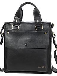 Men Shoulder Bag Cowhide All Seasons Business Casual Formal Date Work Office & Career School Rectangle Smooth Zipper Black