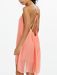 Women's Backless Black/Green/Pink Summer Strap Sexy Backless Solid Color Asymmetrical Swing Midi Dress