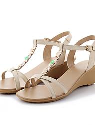Damen Sandalen Pumps Nappaleder Sommer Normal Kleid Party & Festivität Pumps Reißverschluss Keilabsatz Weiß Mandelfarben 2,5 - 4,5 cm