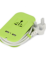 Power strip 2 puertos usb 100-250v 8a enchufe eu con cable de 1,8 m 4 salidas