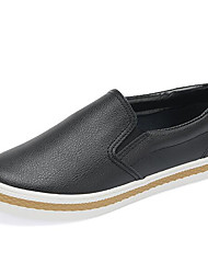 Women's Loafers & Slip-Ons Comfort PU Spring Casual Screen Color Black White Flat
