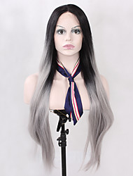 Natural Long Straight Good Looking Fashion Realistic Ombre Black to Grey Synthetic Lace Front Wigs Heat Resistant Half Hand Tied Fiber Hair for Women