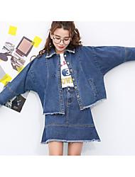 Mujer Primavera T-Shirt Falda Trajes,Escote Chino Manga Larga