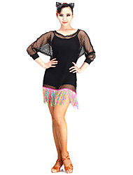 Danse latine Robes Femme Spectacle Maille 1 Pièce Manche longue
