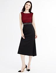 Damen Hülle Kleid-Übergröße Einfach Verziert Rundhalsausschnitt Maxi Ärmellos Rot Weiß Baumwolle Sommer Mittlere Hüfthöhe Unelastisch