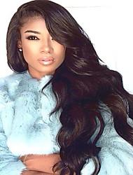 Long Body Wave Wig Human Virgin Hair 130% Density Natural Black Color  For Black Women