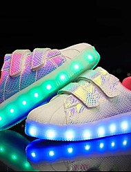 Boys' Sneakers Light Up Shoes Leatherette Summer Fall Outdoor Casual LED Low Heel Pink/White Purple Black White Under 1in