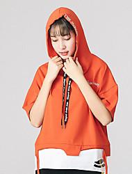 Tee-shirt Femme,Lettre simple ½ Manches Capuche Coton