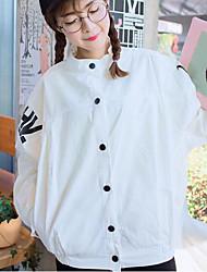 Для женщин Джинсовая куртка Рубашечный воротник