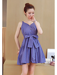 Women's Daily Going out Valentine's Day Cute A Line Sheath Dress,Striped V Neck Mini Sleeveless Cotton Summer Mid Rise Inelastic Medium
