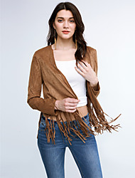 Women's Tassel Casual/Daily Punk & Gothic Fall Wrap,Solid Cowl Long Sleeve Brown Polyester Medium