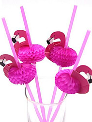10Pcs Chic Lovely Paper Straws Flamingo ON Drinks Straw For Party Props New