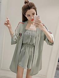 Damen einfarbig Einfach Lässig/Alltäglich Shirt Hose Anzüge Sommer Kurze Hose