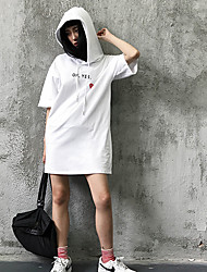 Women's Casual Simple T-shirt,Solid Hooded Half-Sleeve Cotton