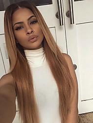 Femme Perruque Naturelles Dentelle Cheveux humains Lace Front Sans Colle Lace Front 130% Densité Raide Perruque Noir / Blond Fraise Court