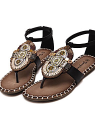 Women's Sandals Comfort PU Spring Casual Comfort Brown Black Flat