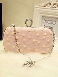 Women Evening Bag PU All Seasons Event/Party Party & Evening Date Baguette Sequined Magnetic Blushing Pink