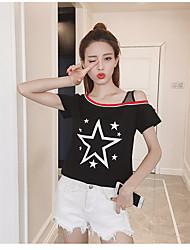 Damen Solide Einfach Sonstiges Normal T-shirt,Rundhalsausschnitt Kurzarm Baumwolle