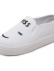 Damen Sneaker Komfort Leuchtende Sohlen Leinwand Frühling Sommer Normal Komfort Leuchtende Sohlen Weiß Schwarz Flach