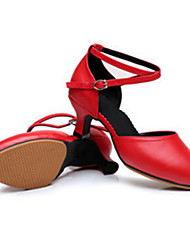 "Women's Latin Leather Heels Outdoor Buckle Low Heel Red Silver Black Gold 2"" - 2 3/4"" Customizable"