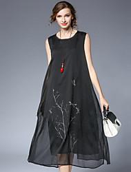 Ample Courte Robe Femme simple Chinoiserie,Imprimé Col Arrondi Midi Sans Manches Coton Satin Eté Taille Haute Non Elastique Fin
