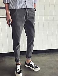 Masculino Simples Cintura Média Micro-Elástica Jeans Calças,SoltoCôr Pura