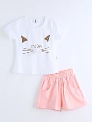 Girls' Animal Print Sets,Cotton Summer Short Sleeve Clothing Set